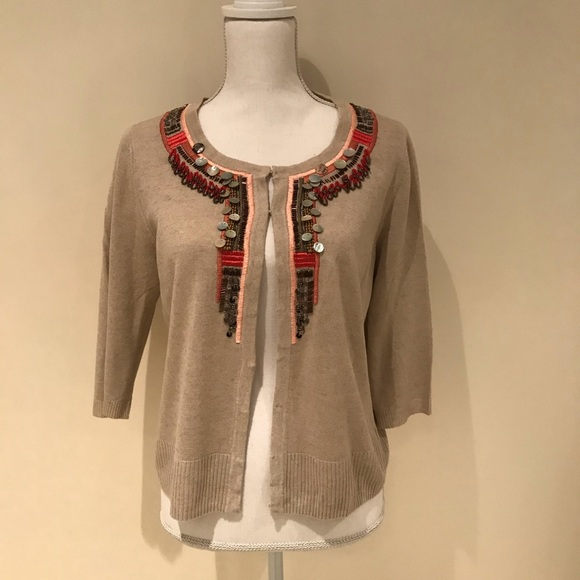 Chico's Sweaters - Chico's embellished 3/4 length sleeve cardigan
